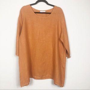 bryn WALKER rust orange linen tunic size small